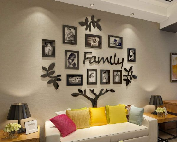 Family Tree Picture Frame Collage 3D Mural Living Room