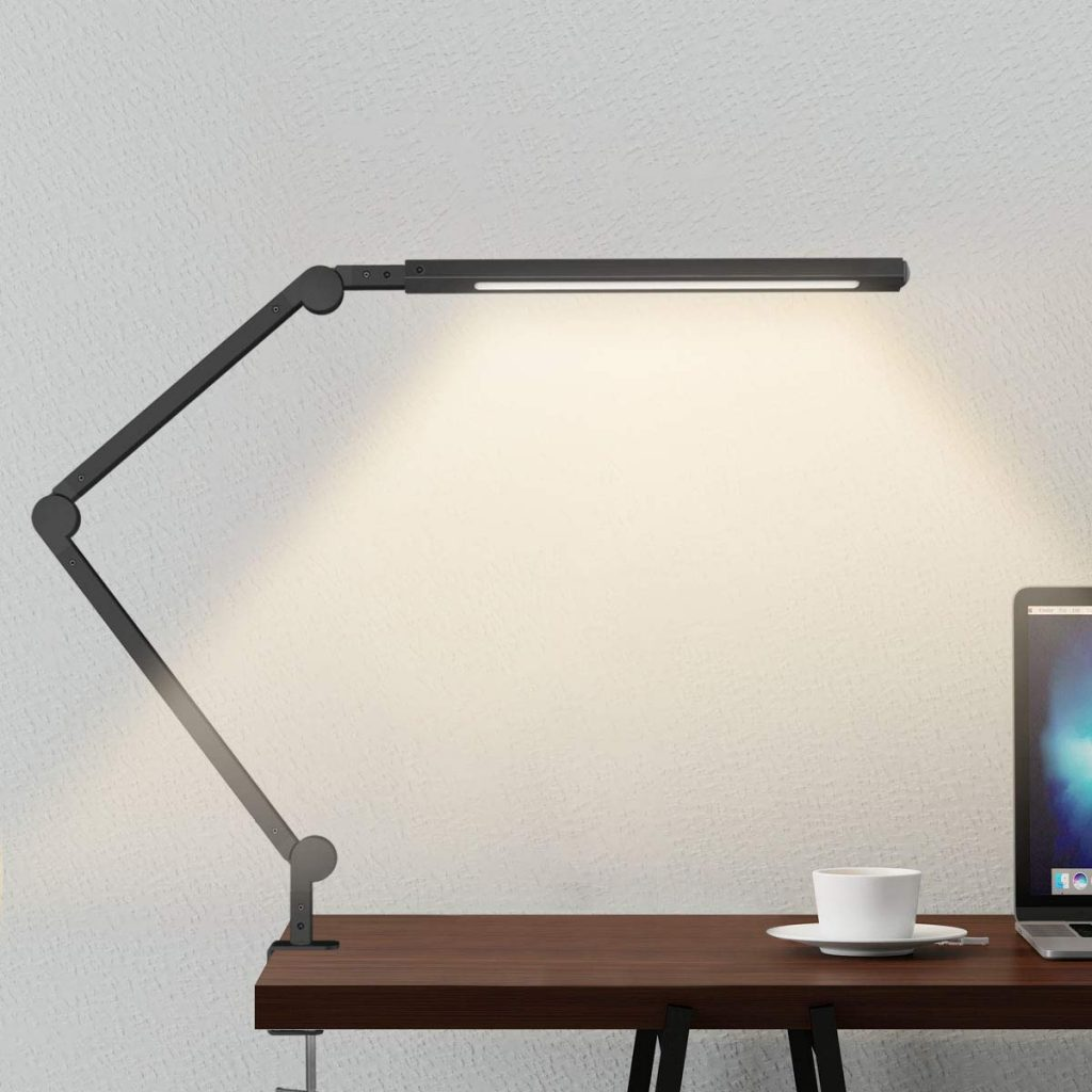 Swing Arm LED Desk Lamp with Clamp and Modern Architect