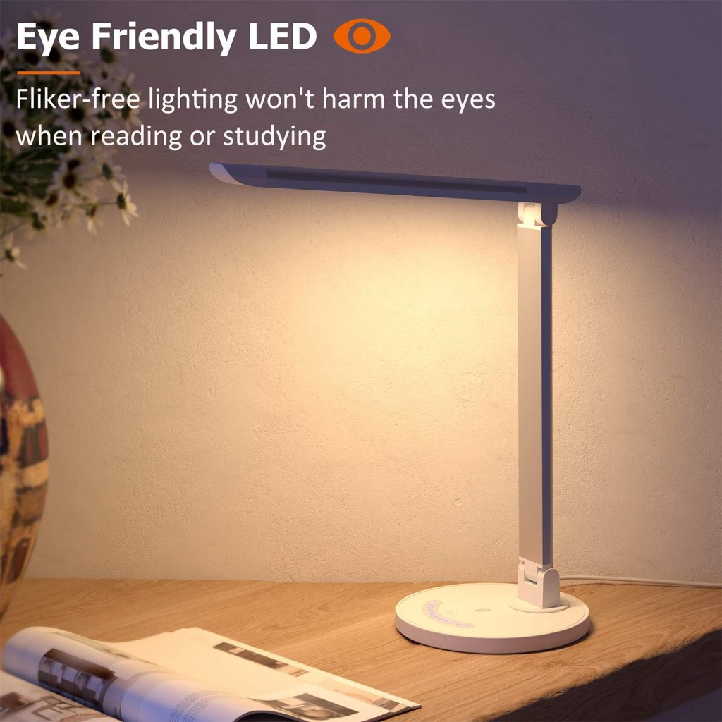 TaoTronics LED Desk Lamp, Dimmable, with USB Charging Port