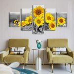 5-Panels-Canvas-Painting-Sunflowers