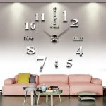 CoZroom-Large-Silver-3D-Frameless-Wall-Clock