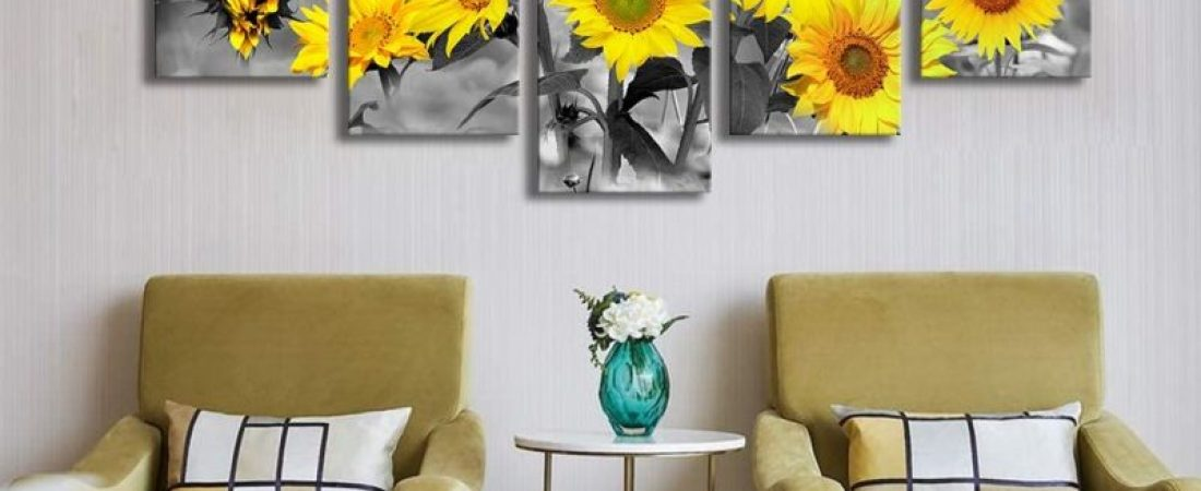 5 Panels Canvas Painting Sunflowers Wall Art